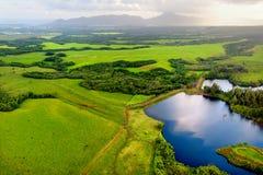 Luchtmening van groene gebieden op Kauai, Hawaï Stock Afbeelding