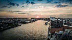 Luchtmening van Hafencity Hamburg Royalty-vrije Stock Foto's
