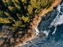 Luchtmening van het bos en bevroren meer van de de wintersneeuw van hierboven gevangen met een hommel in Finland Stock Foto