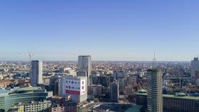 Luchtmening van het centrum van Milaan, Pirelli-wolkenkrabber, Italië Stock Afbeelding