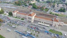 Luchtmening van het hoofdstation van Zagreb stock video