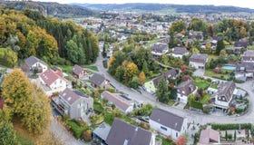 Luchtmening van het landelijke dorp van Midden-Europa Stock Foto