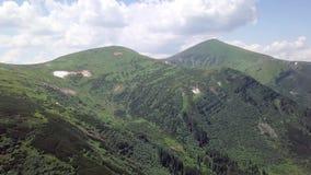Luchtmening van het landschap van de de zomerberg carpathians ukraine stock footage