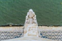 Luchtmening van het monument van de ontdekkingen in Lissabon, Portugal stock foto