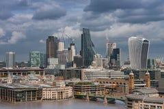 Luchtmening van het noordenbank van de rivier de wolkenkrabber van Theems, Londen Royalty-vrije Stock Afbeeldingen