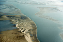 Luchtmening van het Overzeese van Sleeswijk-Holstein Wadden Nationale Park Stock Fotografie