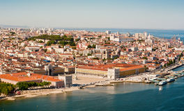Luchtmening van het Paleisvierkant, Lissabon Stock Fotografie