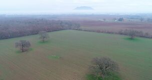 Luchtmening van het platteland van Castel Sant ` Elia, in de provincie van Viterbo, in Italië stock videobeelden
