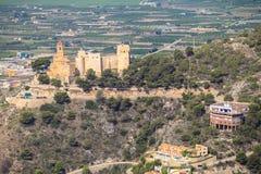 Luchtmening van het Spaanse Cullera kasteel Stock Foto