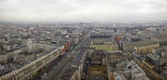 Luchtmening van het stadscentrum in Warshau, Polen Stock Afbeelding