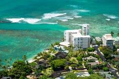 Luchtmening van het strand van Honolulu en Waikiki-van Diamond Head Stock Afbeeldingen