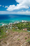 Luchtmening van het strand van Honolulu en Waikiki-van Diamond Head Royalty-vrije Stock Foto