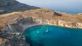 Luchtmening van historisch Dorp Lindos op Rhodes Greece Island Stock Afbeeldingen