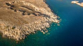 Luchtmening van historisch Dorp Lindos op Rhodes Greece Island Royalty-vrije Stock Foto