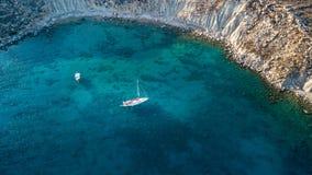 Luchtmening van historisch Dorp Lindos op Rhodes Greece Island Stock Foto's