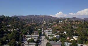 Luchtmening van Hollywood in Los Angeles stock footage