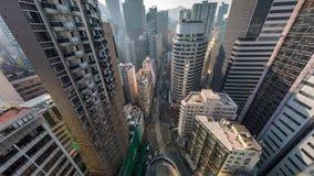 Luchtmening van Hong Kong Skyscrapers Downtown stock videobeelden