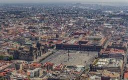 Luchtmening van hoofd vierkante zocalo van Mexico-City stock foto