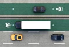 Luchtmening van hybride vrachtwagen en blauwe elektrische auto op draadloze het laden steeg royalty-vrije illustratie