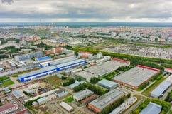 Luchtmening van industriezone van Tyumen Rusland royalty-vrije stock afbeelding