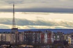 Luchtmening van ivano-Frankivsk stad, de Oekraïne met hoge gebouwen Stock Afbeeldingen