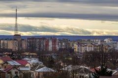 Luchtmening van ivano-Frankivsk stad, de Oekraïne met hoge gebouwen Stock Foto's