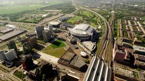 Luchtmening van Johan Cruijff Arena Stadion, Amsterdam stock footage