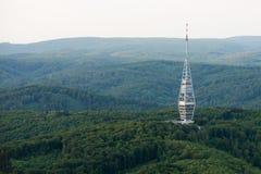 Luchtmening van Kamzik-de transmissietoren van TV, Bratislava Royalty-vrije Stock Foto