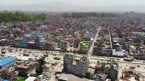 Luchtmening van Katmandu stock video