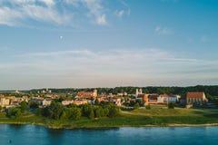 Luchtmening van Kaunas-stadscentrum Kaunas is second-largest royalty-vrije stock afbeeldingen