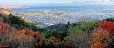 Luchtmening van Kobe City van Onderstel Maya in de Herfstseizoen, Japan stock foto