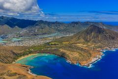 Luchtmening van Koko Head-vulkaankrater en lagune in Honolulu H Stock Afbeelding