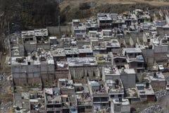 Luchtmening van krottenwijk in Mexico-City Stock Foto