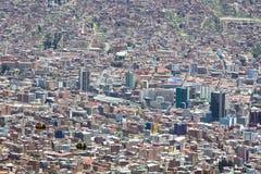 Luchtmening van La Paz in Bolivië met vele woon en bureau Royalty-vrije Stock Afbeelding
