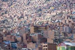 Luchtmening van La Paz in Bolivië met vele woon en offic Royalty-vrije Stock Foto's
