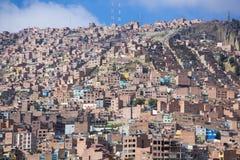 Luchtmening van La Paz in Bolivië met vele woon en offic Royalty-vrije Stock Foto