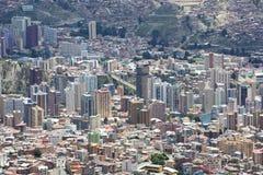 Luchtmening van La Paz in Bolivië met vele woon en offic Royalty-vrije Stock Afbeeldingen