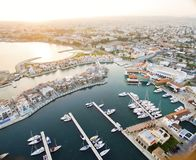 Luchtmening van Limassol Jachthaven, Cyprus royalty-vrije stock foto