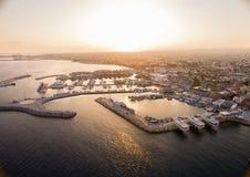 Luchtmening van Limassol Oude Haven, Cyprus stock foto's