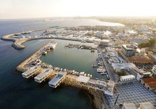 Luchtmening van Limassol Oude Haven, Cyprus royalty-vrije stock foto's
