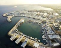 Luchtmening van Limassol Oude Haven, Cyprus stock fotografie