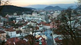 Luchtmening van Ljubljana, Slovenië stock video