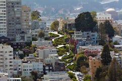 Luchtmening van Lombard Straat in San Francisco, Californië Stock Afbeeldingen