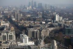 Luchtmening van Londen van de Walkie-talkie die op 20 Fenchurch Straat voortbouwen Royalty-vrije Stock Foto