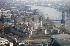 Luchtmening van Londen van de Walkie-talkie die op 20 Fenchurch Straat voortbouwen Royalty-vrije Stock Afbeelding