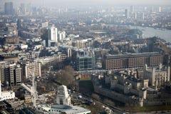 Luchtmening van Londen van de Walkie-talkie die op 20 Fenchurch Straat voortbouwen Royalty-vrije Stock Afbeeldingen