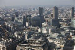 Luchtmening van Londen van de Walkie-talkie die op 20 Fenchurch Straat voortbouwen Stock Foto's