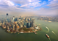Luchtmening van Lower Manhattan, New York Stock Afbeeldingen