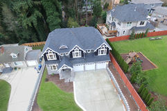 Luchtmening van luxueus grijs huis Royalty-vrije Stock Foto