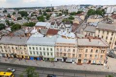 Luchtmening van Lviv, de Oekraïne stock afbeelding